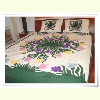 Hawaiian Bedspread-Plumeria Garden